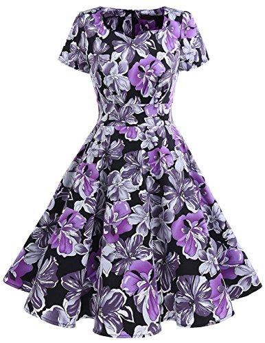 Dresstells Damen Vintage 50er Rockabilly Kurzarm Swing Kleider Partykleid Purpre Flower S