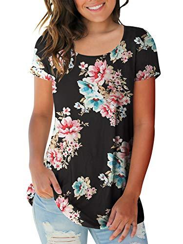 Vintage-print T-shirt Damen (AMORETU Damen Floral Print Shirt Hemd Rundhals Kurzarmshirt Oberteile)