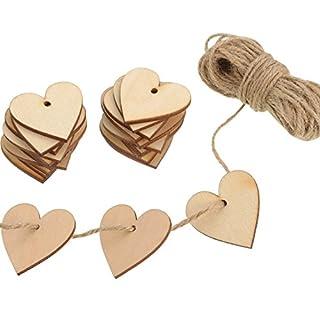 Outus 100 Pièces Embellissement Vierge en Form de Coeur en Bois 40 mm avec 10 m Ficelle Naturelle pour le Mariage Bricolage Arts Artisanat Carte de Fabrication Décoration Valentine