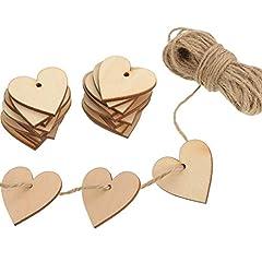 Idea Regalo - 100 Pezzi Cuore di Legno Abbellimenti Cuore di Legno 40 mm con 10 m Naturale Spago per Matrimonio Fai da Te Arte Craft Card Making Decorazione di San Valentino