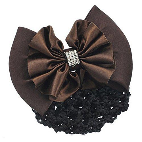 Mode Snood Net Hair Pin Bow Tie Spring Clip Clip Barrette cheveux, café
