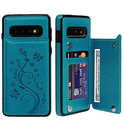 Promixc für Galaxy S10 Hülle, Premium Leder Flip Schutzhülle Doppelt Magnetic Snap mit Ständer Funktion Case Cover Brieftasche Handyhülle für Samsung Galaxy S10 - Blau Handy Snap Case