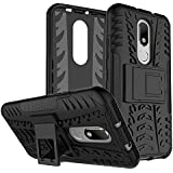Dream2cool FOR Motorola Moto M Tough Hybrid Flip Kick Stand Spider Hard Dual Shock Proof Rugged Armor Bumper Back Case Cover For Motorola Moto M - BLACK
