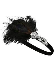 BABEYOND Pfau-Stirnband der Frauen-1920 Kristallstirnband-Brautfeder-Stirnband-Partei-Stirnband-Haar-Zusätze