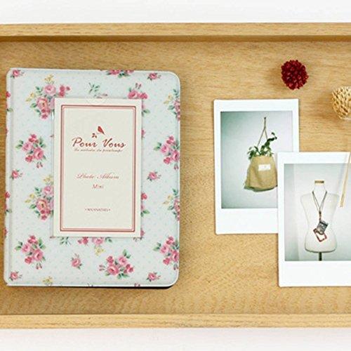 Elsatsang 64 Taschen Fotoalbum Mini Album Retro Rose Blumen blumig romantisch Fotoalbum Polaroid Mini Größe Name (weiß) (8x8 Mini-album)