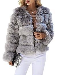 Melegant Damen Winter Pelz Mantel Elegant Warm Kunstfell Jacke Kurz Casual  Coat 0a4370aedc