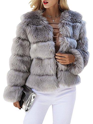 Melegant Damen Winter Pelz Mantel Elegant Warm Kunstfell Jacke Kurz Casual Coat, Grau, 40 - Kurze Kunstfell-mantel