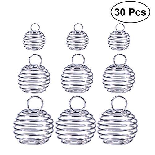 ULTNICE Pendentif en cale en perle Pendentifs en spirale Pendentifs en cage plaqués pour la fabrication de bijoux DIY Pakc of 30