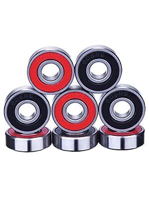 eBoot Kugellager Skateboard Kugellager Longboard Roller Rollschuhen 608 2RS, Doppelt Abgeschirmt, Rot und Schwarz, 8 Stück