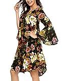 Beyove Damen Langarm Blumenmuster Kleid Cocktailkleider Freizeitkleid Blusenkleid Trompetenärmel Druckkleid Causal Party Urlaub Beach