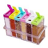 Gewürzdosen Set mit 6 Teilen aus Kunststoff mit Dem Aufbewahrungsregal Accessoires für Küche, Farben Zufalls Spice Jar Set Speisewürze Essig Flasche