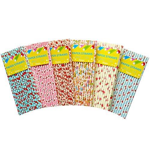 (Fzopo Papier-Strohhalme für Teeparty, Brautparty und Hochzeit, biologisch abbaubar, Premium-Qualität, 20 cm, 150 Stück)