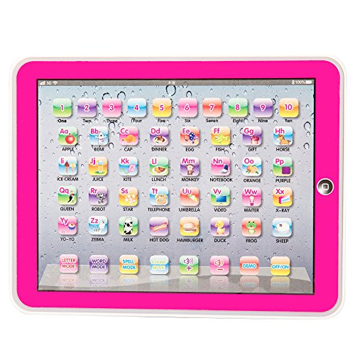 English Words Learning Computer for Kids Touch Screen Pad Childrens Early Education Study Machine Toy Gift (Pink)