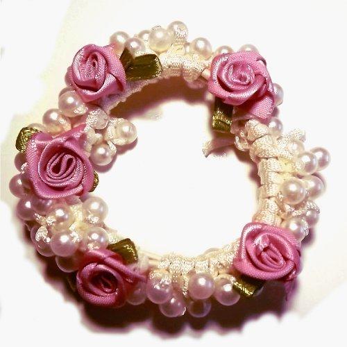 Pearl & Rose Bun Ring Scrunchie Hair Garland Bridesmaid (Dusky rose) by Shropshire Supplies