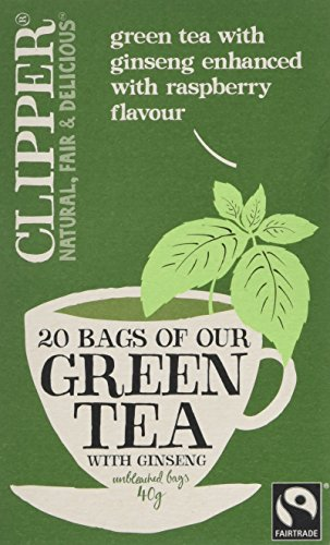 Clipper Fairtrade Green Tea with Ginseng 20 Teabags (Pack of 6, Total 120 Teabags)