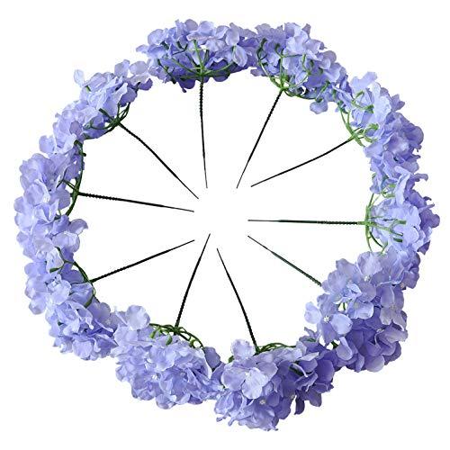 Kislohum Künstliche Hortensien Blumen Köpfe für Hochzeit Blumenstrauß DIY Blumendekor Haus Garten Party Dekorationen 10 Stück mit Stielen, Pink Fliederfarben