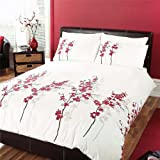 Dreams 'n' Drapes Oriental Flower Bettwäsche-Set für King Size, rot