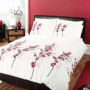 'Oriental Flower' King Duvet Cover Set in Red, Includes: 1x King Duvet Cover and 2x Pillowcases