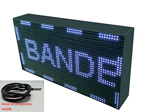 Schild LED programmierbar mit Sensor Temperatur- und Text-Uhr/Programmierbar Schild/Display programmierbar/Display/Programmierbare LED Leuchtreklame/Elektronische Uhr/Wimpelkette 64x32 weiß - Uhr Leuchtreklame