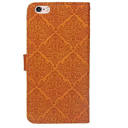 Für Apple IPhone 6 6s Plus Fall Deckung Europäische Wandmalerei geprägt Pressing Flower Pattern PU Leder Brieftasche Fall mit Halter & Foto Frame & Card Slots ( Color : Purple ) Khaki