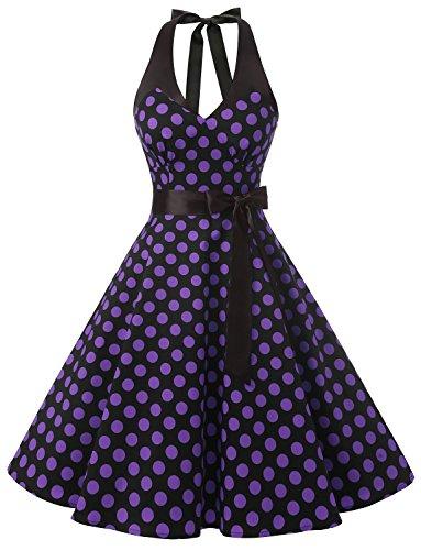 Dressystar Robe de bal élegante Polka Vintage pin-up à 'Audrey Hepburn' 50's 60's Rockabilly Halter,dos nu, à pois Noir à pois pourpre B