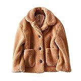 JURTEE Damen 2019 Jacken, Frauen Winter Warme Dicke Mantel Feste Taschen Kapuzenjacke Cardigan(Large,Khaki)