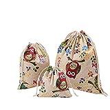 Amoyie 3 teilig Turnbeutel Sportbeutel Baumwoll Tunnelzug Storage Bag Organizer Tasche Lagerbeutel mit Kordel zum Mehrzweck, Grüne Eul