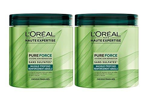 L'Oréal Haute Expertise Pure Force Masque à Rincer Fortifiant Cheveux Abimés 200 ml - Lot de 2