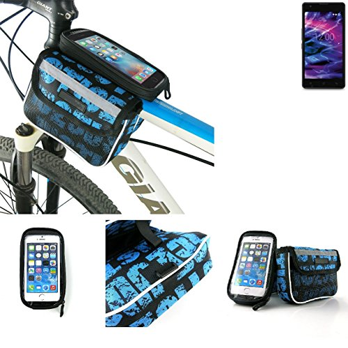 Price comparison product image Bike frame bag Front Top Tube Pannier for Medion Life E5020, Head Tube cycling triple case Bicycle mount cradle Mobile Phone Holder, blue, water resistant - K-S-Trade(TM)