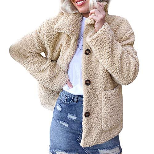 Riou Winterjacke Damen Herbst Winter Warm Künstliche Wollmantel Jacke Revers Elegant Kunstpelz Parka Oberbekleidung (L, Khaki)