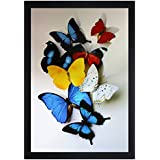 SAF Butterfly Modern Art UV Coated Home Decorative Gift Item Framed Painting 14 inch X 20 inch SANFO468