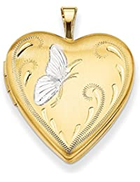 ICE CARATS 1/20 Gold Filled Butterfly 19mm Heart Photo Pendant Charm Locket Chain Necklace That Holds Pictures Fashion Jewelry Gift Set For Women Heart