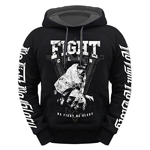 Männer und Herren Kapuzenpullover No Fight No Glory FIGHT CLUB schwarz/graue Kapuze