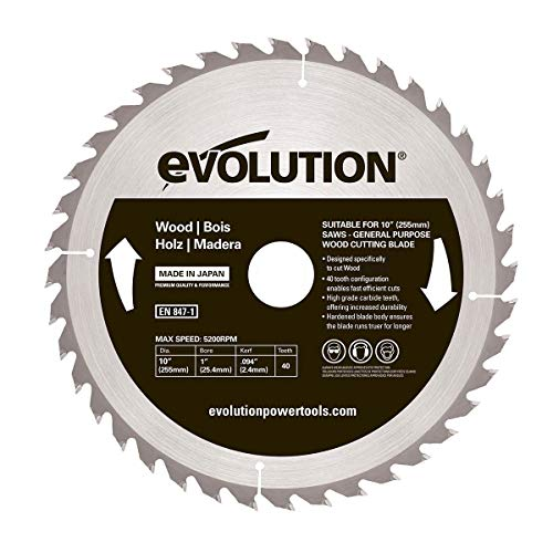 Evolution Power Tools - Bj rageblade255wood Evolution 255 mm Holz Hartmetallbestückt Klinge, 0 V, Multi, 255 mm (Power Tools)