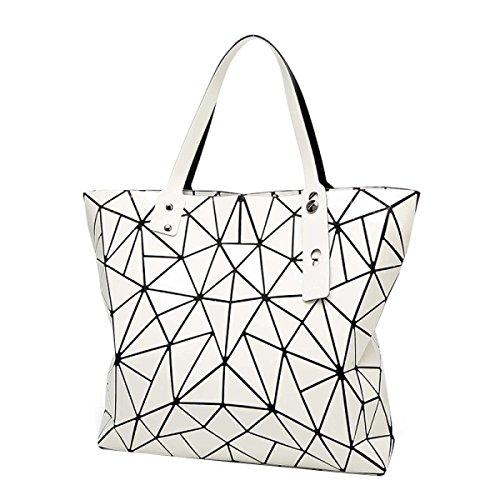 Frauen Unregelmäßige Geometrische Falttasche Mode Schulter Handtasche White