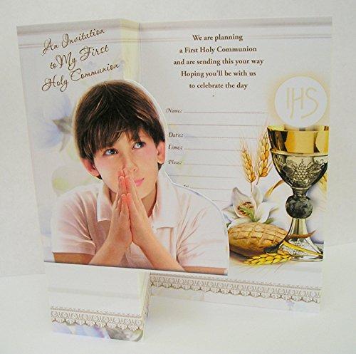 12Stück Jungen Erstkommunion Einladungen/lädt Gold Print
