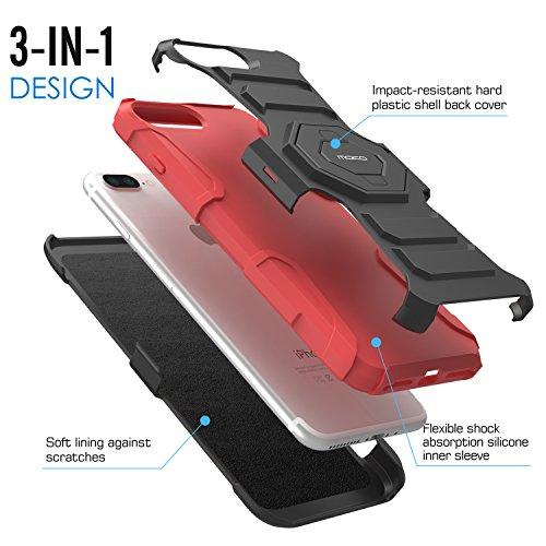 MoKo iPhone 8 Plus / 7 Plus Hülle - [Heavy Duty Serie] Stoßfest Outdoor Dual Layer Armor Case Handy Schutzhülle mit Gürtelclip / Ständer Schale Bumper für Apple iPhone 8 Plus 2017 / 7 Plus, Schwarz Rot