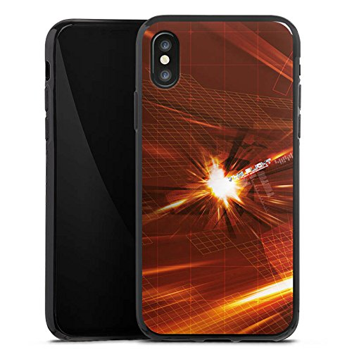 Apple iPhone X Silikon Hülle Case Schutzhülle Licht Explosion Muster Silikon Case schwarz