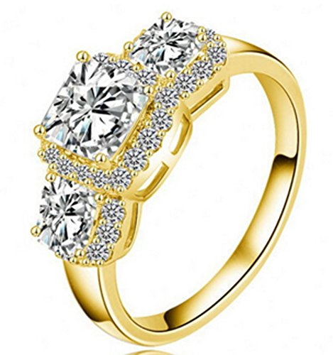 SaySure - 18K Gold/Platinum Plate Micro Inlay Cubic Zircon Fine (SIZE : 8) Fine Gold Plate