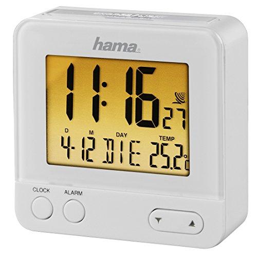 Hama RC540 Funk Wecker (sensorgesteuerte Nachtlichtfunktion, Schlummerfunktion, Temperatur- und Datumsanzeige) weiß