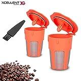 Xcellent Global Confezione da 2 capsule K-Cups con filtro riutilizzabili per Keurig 2.0, K200, K300, K400, K500, HG227