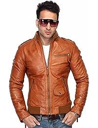 Bareskin men's tan leather slim-fit jacket