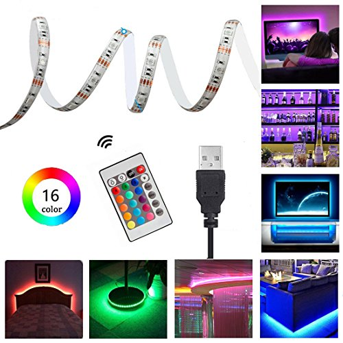 Tira de LED 5050 IP65 Impermeable USB RGB TV retroiluminaci¨®n Kit de iluminaci¨®n de sesgo - 100CM 5V para HDTV, Desktop PC, Pantalla LCD, Port¨¢til, Sobremesa, Dormitorio etc. [Clase de eficiencia energ¨¦tica A+++]
