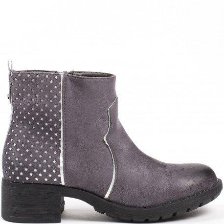 Ideal Shoes - Bottines ajourées effet daim Trisha Gris