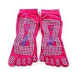 HuaYang Nouveau Cinq orteils Chaussettes Yoga Chaussettes professionnel Massages antidérapant pour femmes(Peche)