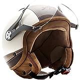 SOXON SP-325-URBAN Creme Casque Jet Mofa Demi-Jet Cruiser Bobber Biker Retro Chopper Vintage Helmet Vespa Scooter Moto Pilot, ECE certifiés, conception en cuir, compris le pare-soleil, compris le sac de casque, Beige/Marron, L (59-60cm)