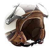 SOXON SP-325-URBAN Creme · Mofa Pilot Helmet Scooter-Helm Biker Bobber Cruiser Roller-Helm Jet-Helm Motorrad-Helm Vespa-Helm Retro Chopper Vintage · ECE zertifiziert · Leder Design · mit Visier · inkl. Stofftragetasche · Beige · M (57-58cm)