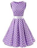 VKStar 50er 60er Retro Kleider Damen mit Tupfen Abendkleid Vintage Damen Rockabilly Ballkleid Purpur XXL