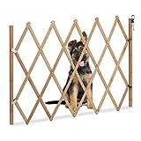 Relaxdays Absperrgitter Hund, ausziehbar, aus Holz, Türen & Treppen, Breite 20-105 cm, 74 cm hoch, Hundegitter, Natur