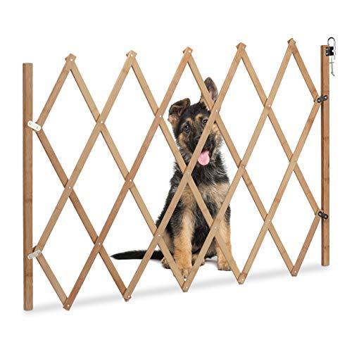 Relaxdays Absperrgitter Hund, ausziehbar, aus Holz, Türen & Treppen, Breite 20-105 cm, 74 cm hoch, Hundegitter, Natur (Tür-schutz Für Hunde)